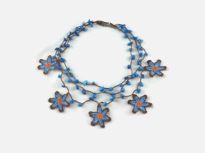 multi-stranded blue necklace