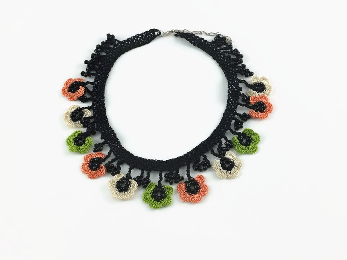 necklace with multicolored flowers