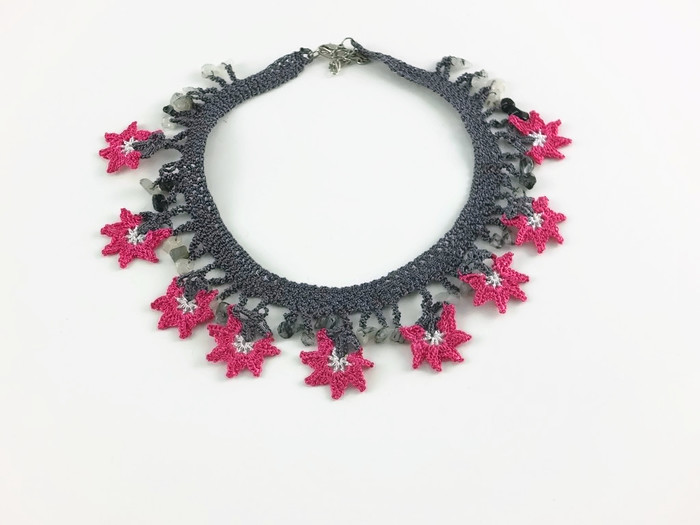 necklace with pink and black flowers