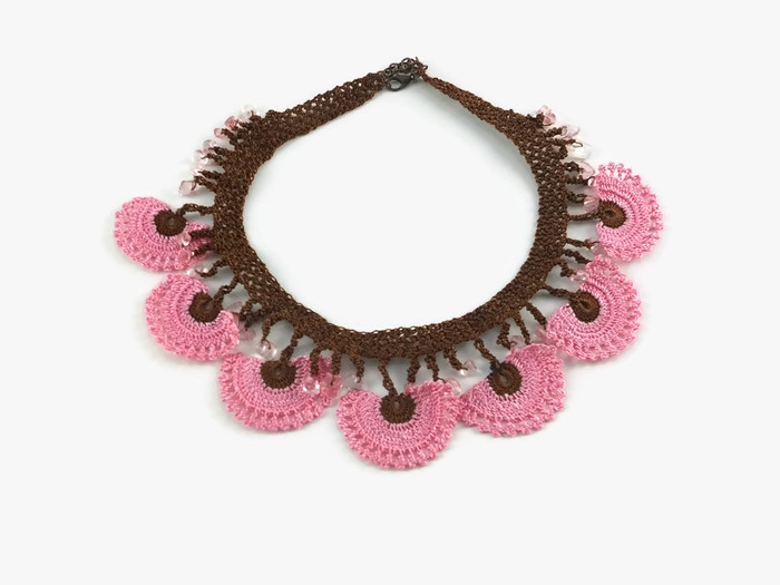 necklace with pink and brown flowers