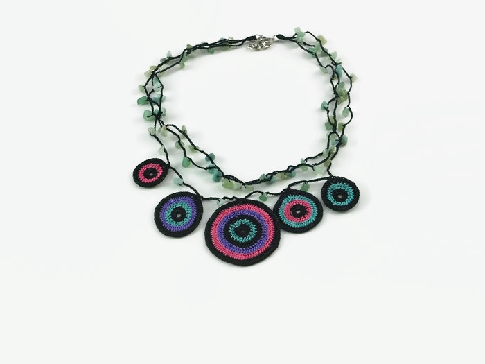 multi-stranded necklace with multi-colored circles