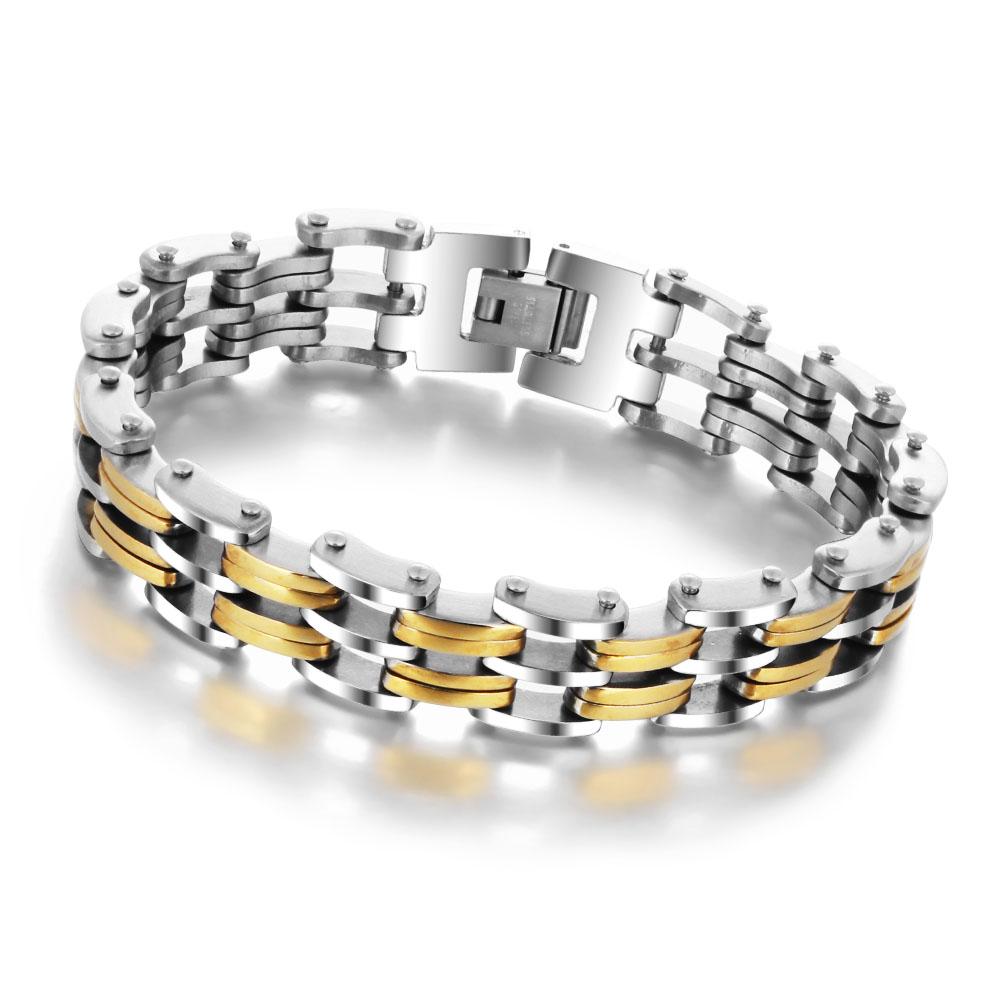 men's stainless steel and gold bracelet
