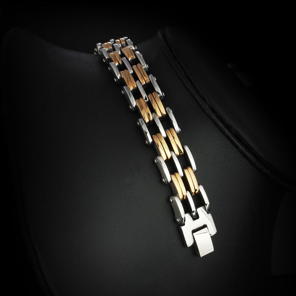 men's stainless steel and gold bracelet 2