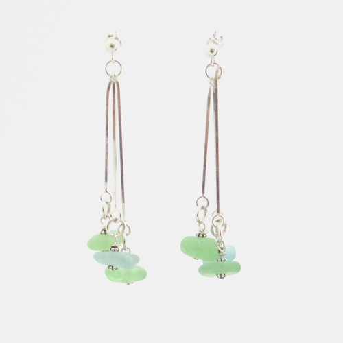 mint green and aqua earrings by sea glass designs