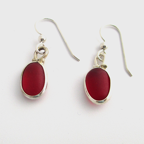 red sea glass earrings by sea glass designs