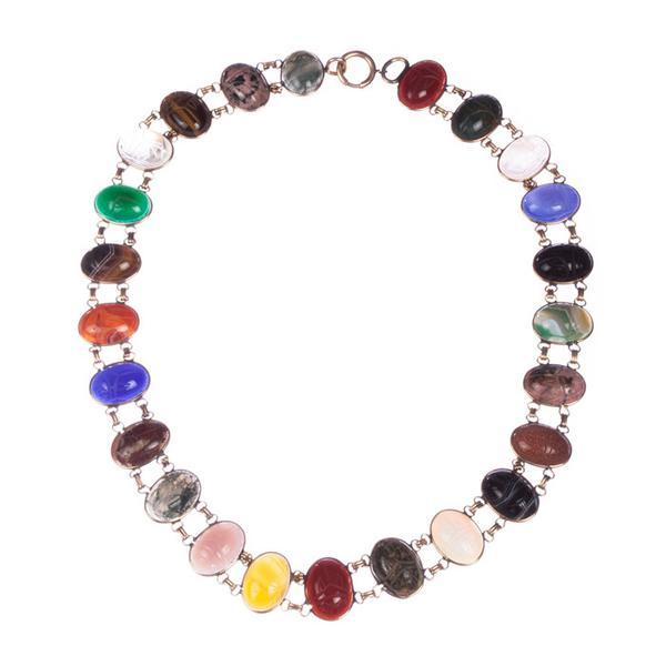 scarab gemstone necklace