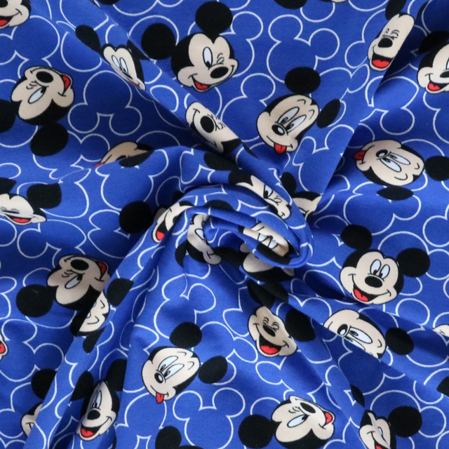 mickey blue jersey knit fabric by bobbins n buttons