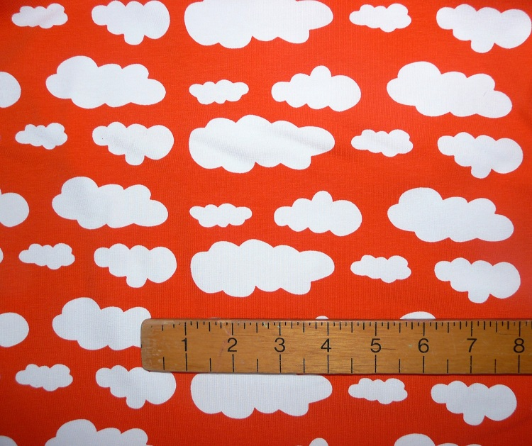 orange cloud jersey knit fabric by bobbins n buttons